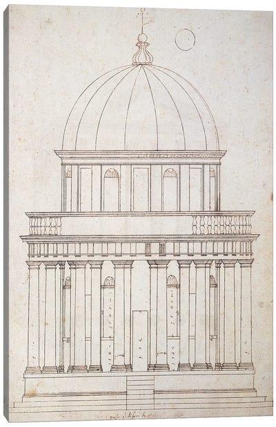 San Pietro in Montorio. The Tempietto built by Donato Bramante . Drawing by Andrea Palladio . Elevation. Italy. Canvas Art Print