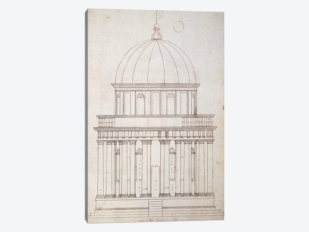 San Pietro in Montorio. The Tempietto built by Donato Bramante . Drawing by Andrea Palladio . Elevation. Italy. by Andrea Palladio 1-piece Canvas Art Print