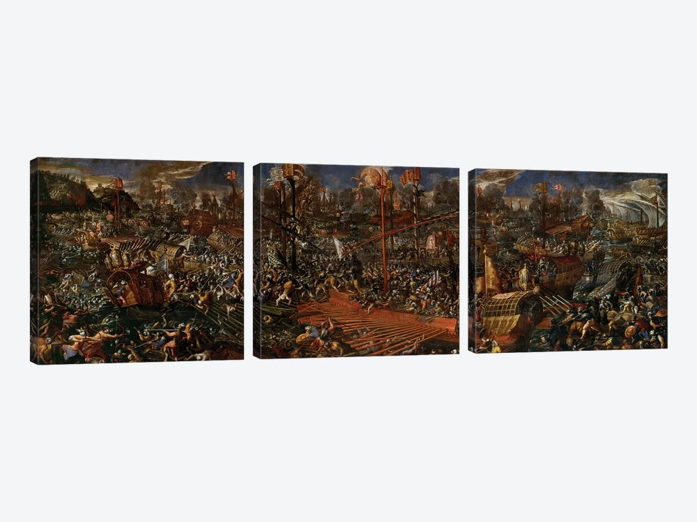 The Battle of Lepanto  by Andrea Vicentino 3-piece Canvas Wall Art
