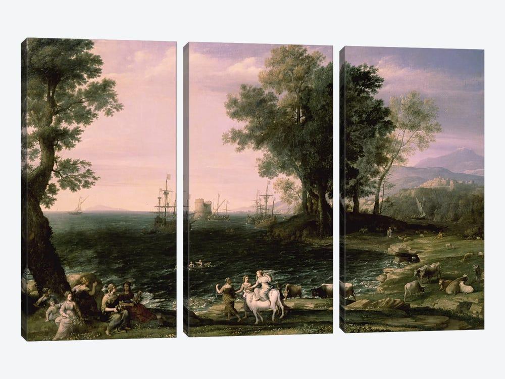 The Rape of Europa, 1655 (Pushkin Museum) by Claude Lorrain 3-piece Canvas Artwork