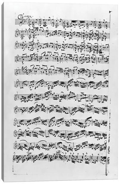 Copy of 'Partita in D Minor for Violin' by Johann Sebastian Bach    Canvas Art Print