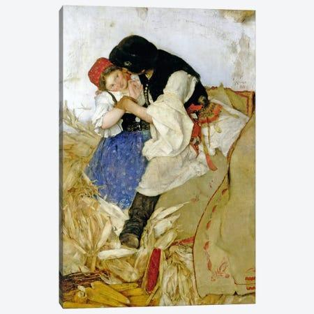 Husking Corn, 1885 Canvas Print #BMN881} by Simon Hollosy Canvas Art