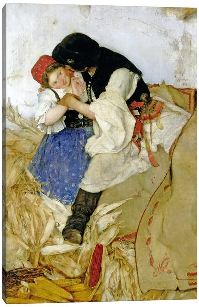 Husking Corn, 1885 Canvas Art Print
