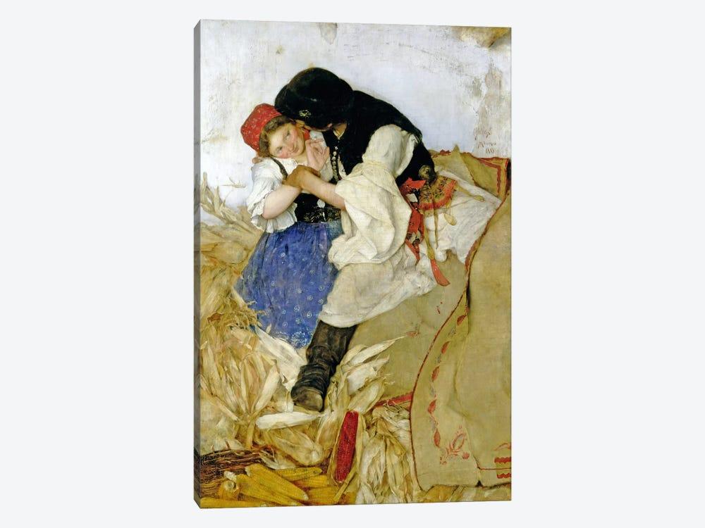 Husking Corn, 1885 by Simon Hollosy 1-piece Canvas Art Print