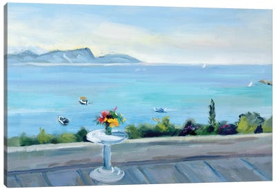 A terrace looking out to sea  Canvas Art Print