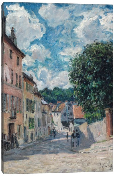 A Street, possibly in Port-Marly, 1876  Canvas Art Print