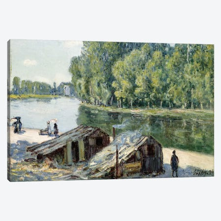Huts along the Canal du Loing, effect of sunlight, 1896  Canvas Print #BMN8840} by Alfred Sisley Canvas Art
