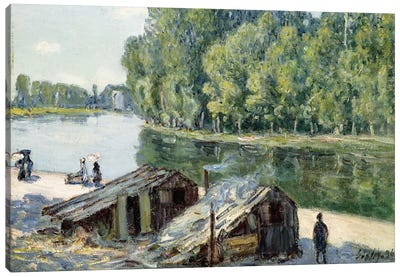 Huts along the Canal du Loing, effect of sunlight, 1896  Canvas Art Print