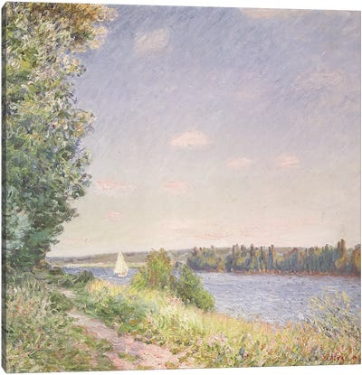 Normandy, the water path in the evening, Sahurs, 1894  Canvas Art Print
