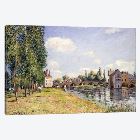 The Moret Bridge in the summer, 1888  Canvas Print #BMN8853} by Alfred Sisley Art Print
