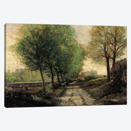 Tree-lined avenue in a small town, 1865-1867 Canvas Print #BMN8857} by Alfred Sisley Canvas Art