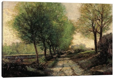 Tree-lined avenue in a small town, 1865-1867 Canvas Art Print