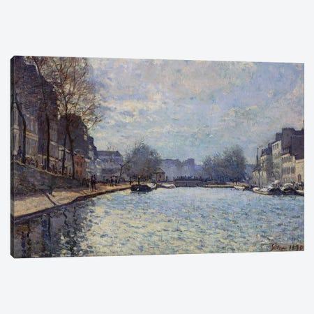 View of the Canal Saint-Martin, Paris, 1870  Canvas Print #BMN8858} by Alfred Sisley Canvas Art Print