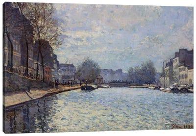 View of the Canal Saint-Martin, Paris, 1870  Canvas Art Print