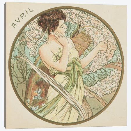 April, 1899   Canvas Print #BMN8861} by Alphonse Mucha Canvas Wall Art