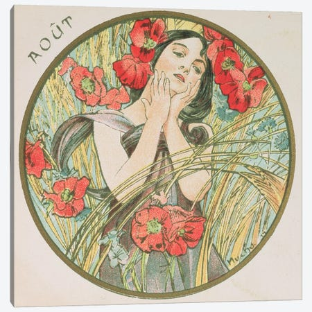 August, 1899   Canvas Print #BMN8862} by Alphonse Mucha Canvas Wall Art