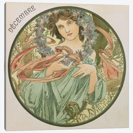 December, 1899   Canvas Print #BMN8864} by Alphonse Mucha Canvas Print
