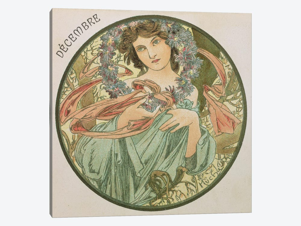 December, 1899   by Alphonse Mucha 1-piece Canvas Art Print