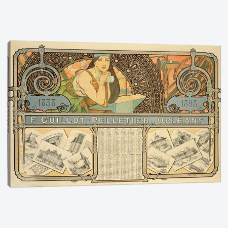 F. Guillot Pelletier Calendar, 1897  Canvas Print #BMN8865} by Alphonse Mucha Canvas Print