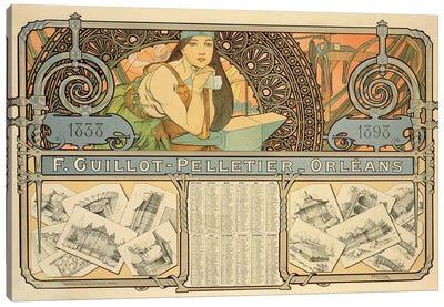F. Guillot Pelletier Calendar, 1897  Canvas Art Print