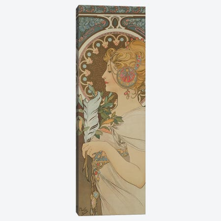 Feather, 1899  Canvas Print #BMN8866} by Alphonse Mucha Canvas Art Print