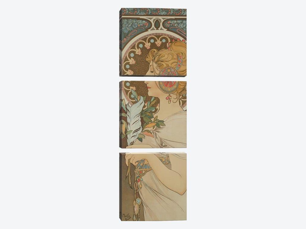 Feather, 1899  by Alphonse Mucha 3-piece Canvas Art Print