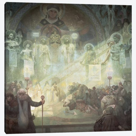 Holy Mount Athos, from the 'Slav Epic', 1926  3-Piece Canvas #BMN8869} by Alphonse Mucha Canvas Art