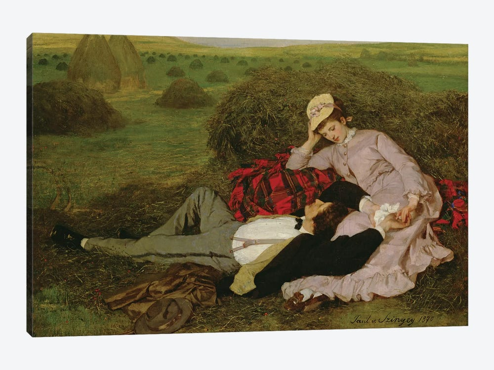The Lovers, 1870  by Pal Szinyei Merse 1-piece Canvas Wall Art