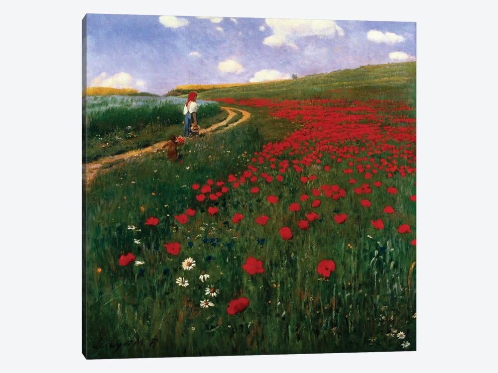 The Poppy Field by Pal Szinyei Merse 1-piece Canvas Wall Art
