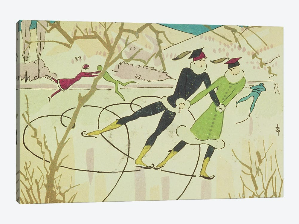 Figure Skating, Christmas card by Unknown Artist 1-piece Art Print