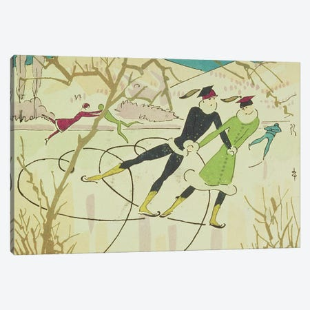 Figure Skating, Christmas card Canvas Print #BMN889} by Unknown Artist Canvas Artwork