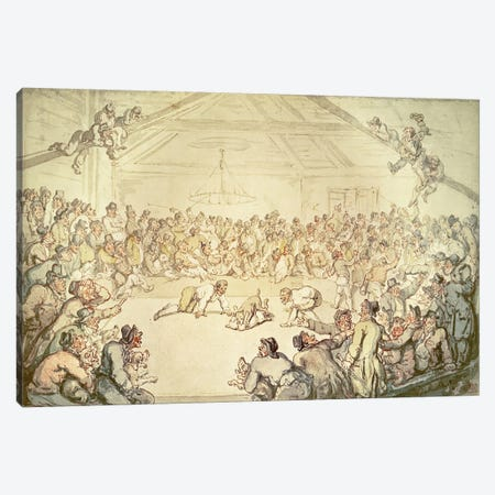 The Dog Fight Canvas Print #BMN891} by Thomas Rowlandson Canvas Print