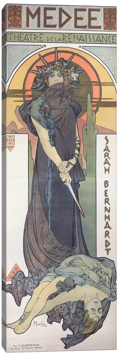 Sarah Bernhardt  as Medee at the Theatre de la Renaissance, 1898  Canvas Art Print