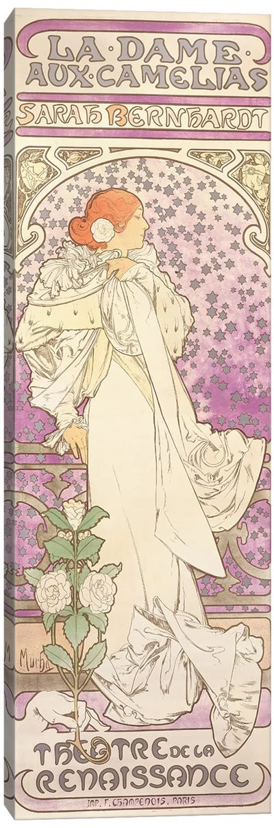 Sarah Bernhardt , La Dame aux Camelias, at the Theatre de la Renaissance, 1896  Canvas Art Print
