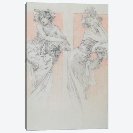 Study for plate 12 from 'Documents Decoratifs', 1902  Canvas Print #BMN8950} by Alphonse Mucha Canvas Wall Art