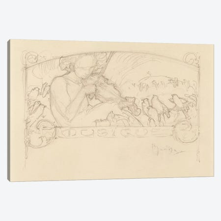 Study of a Woman Playing Violin,  Canvas Print #BMN8951} by Alphonse Mucha Canvas Wall Art