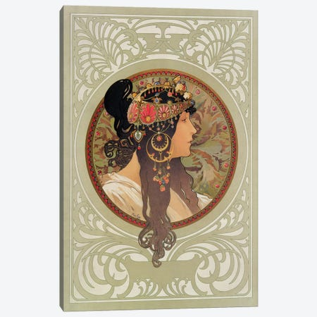 Tetes Byzantines: Brunette, 1897  Canvas Print #BMN8953} by Alphonse Mucha Canvas Wall Art