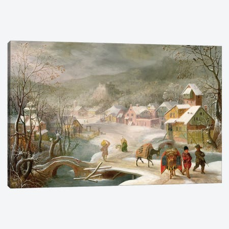 A Winter Landscape with Travellers on a Path Canvas Print #BMN895} by Denys van Alsloot Canvas Art