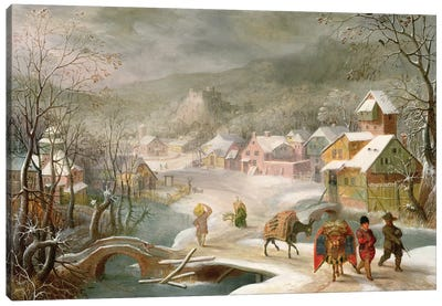 A Winter Landscape with Travellers on a Path Canvas Art Print