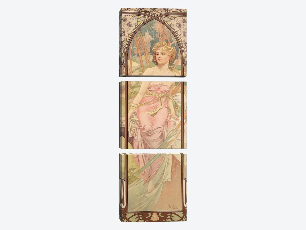 The Times of the Day: Morning Awakening, 1899  by Alphonse Mucha 3-piece Canvas Print
