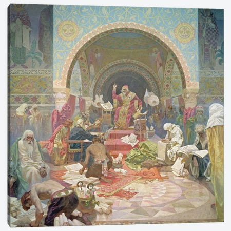 Tsar Simeon of Bulgaria , from the 'Slav Epic', 1923  Canvas Print #BMN8977} by Alphonse Mucha Canvas Art Print