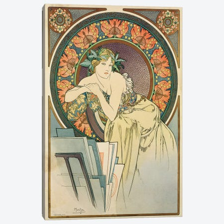 Woman with Poppies, 1898  Canvas Print #BMN8979} by Alphonse Mucha Canvas Artwork