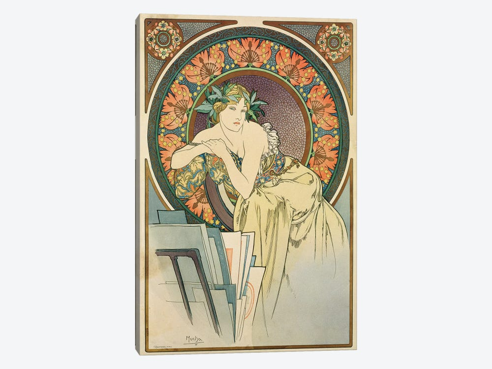 Woman with Poppies, 1898  by Alphonse Mucha 1-piece Canvas Wall Art