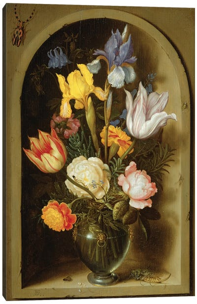 Still life with flowers and insects  Canvas Art Print