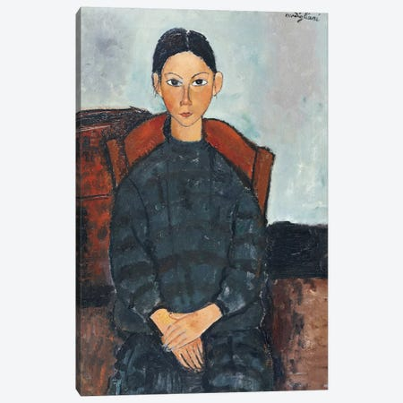 A Young Girl with a Black Overall, 1918  Canvas Print #BMN8983} by Amedeo Modigliani Canvas Art Print