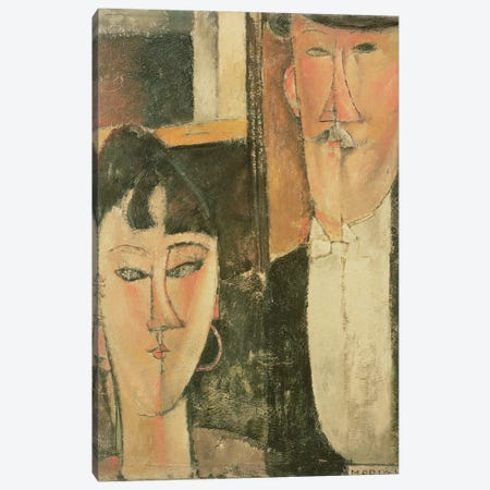 Bride and Groom , 1915-16 Canvas Print #BMN8985} by Amedeo Modigliani Canvas Artwork