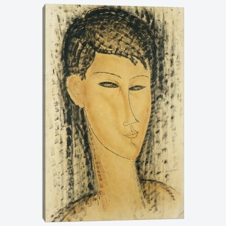 Head of a Young Women Canvas Print #BMN8997} by Amedeo Modigliani Canvas Art Print