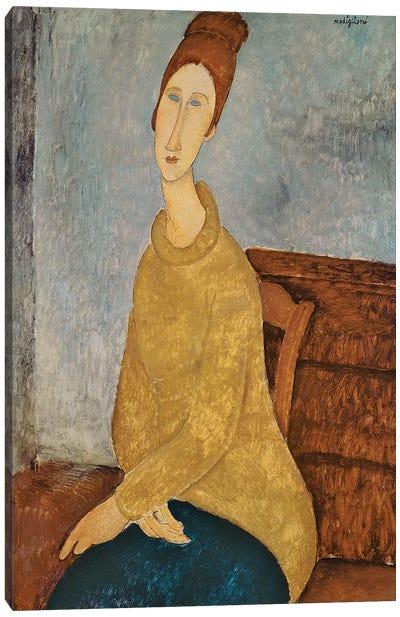 Jeanne Hebuterne in a Yellow Jumper, 1918-19  Canvas Art Print