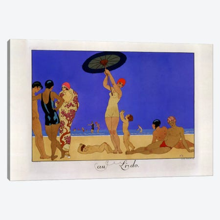 At the Lido, engraved by Henri Reidel, 1920 (litho) Canvas Print #BMN8} by George Barbier Canvas Print
