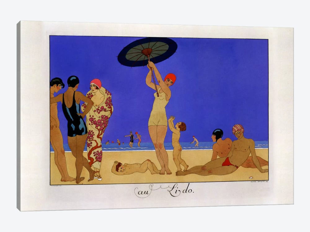 At the Lido, engraved by Henri Reidel, 1920 (litho) by Georges Barbier 1-piece Canvas Artwork